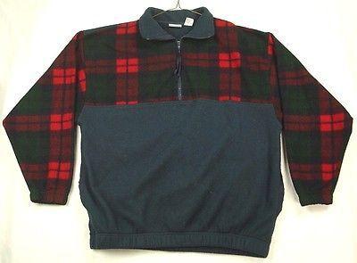 Vintage Bugle Boy Men/'s L Checked Fleece Sweater 14 Zip Sweatshirt