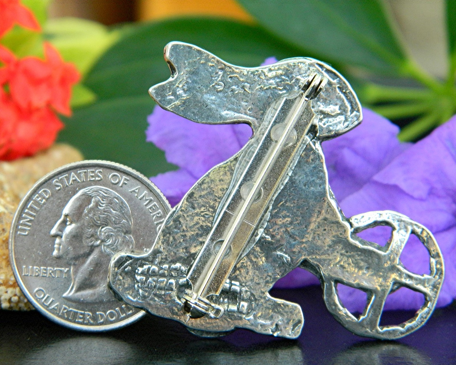 Vintage Steampunk Easter Bunny Rabbit Brooch Pin Silver Tone Figural