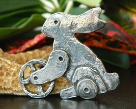 Vintage Steampunk Easter Bunny Rabbit Brooch Pin Silver Tone Figural - $22.95