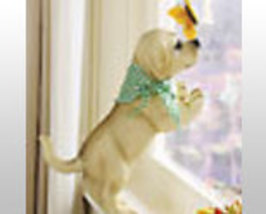 Peeping Resin Dog Sculpture  - $21.75
