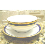Tiffany Blue Band  cream  soup cup /  bowl and saucer excellent - $79.15