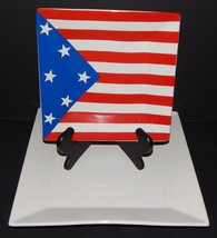 Stars and Stripes American Flag Square Serving Dish Plates Set of 2 Fine... - $31.97 CAD