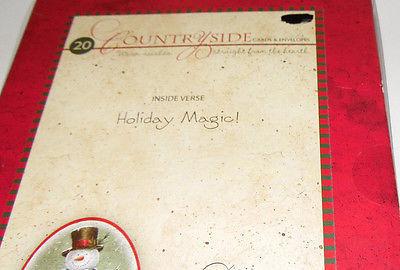 christmas cards box of 20 with  Envelopes Snow Man  NIB