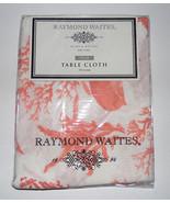 Raymond Waites New York  ORANGE CREAM Coral Salmon Tablecloth 70 in roun... - $19.38