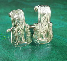 Vintage Western Buckle Cufflinks Silver cowboy eternal link Wedding groom wrap c - $195.00