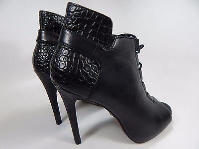 Pour La Victoire Vione Women's Lace Up Open Toe High Heel Bootie Sz US 8 M Black