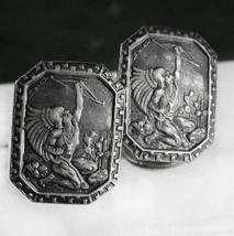 STUNNING Art DECO sterling cufflinks Vintage SIGNED s. Diaz Indian warri... - $375.00