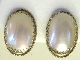Vintage Whiting & Davis White Shell Earrings Clip On - $13.99