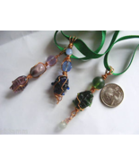 Beaded Copper Wire Wrapped Glass FISH Stringer Ornaments x3 - $14.99