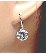 .925 Sterling Silver Clear Faceted Crystal Solitaire Dangle Drop Earring... - $10.87