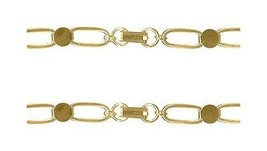 5 Five GOLD PLATED BRACELET Blanks~ Oval Links~ 6 Disks / Pads for Beads... - $33.97