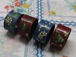 Vintage Set of 4  Brass Chinese CLOISONNE Napkin Rings  Blue & Cinnabar ... - $20.00