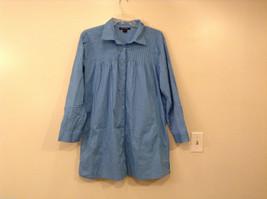 Ashley Stewart Women's Size 24 Shirt Blouse Tunic Blue Button-Down Pintuck Yoke