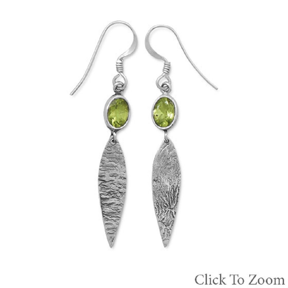 Earrings w Oxidized  Hammered Textured Drops choice of Topaz Peridot Amethyst