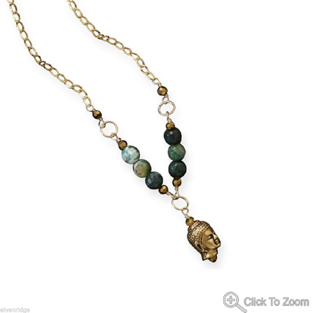Green Agate Enlightenment Necklace Gold with Buddha pendant