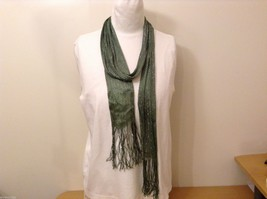 Green Silver Metallic Thread Narrow SCARF Rayon
