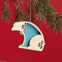 Laser Wood Ornament Flourish Polar Bear