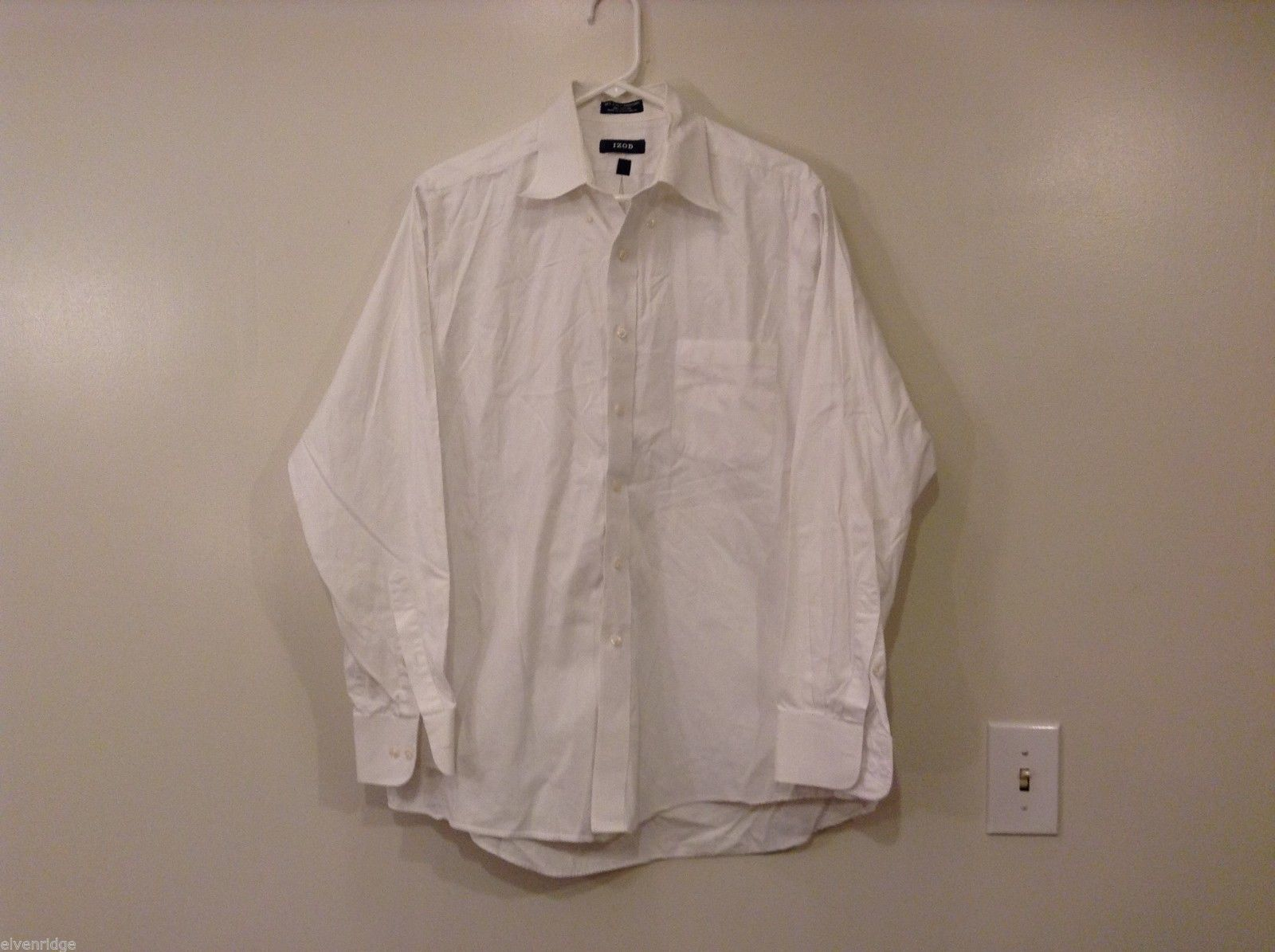 Men's IZOD Easy Care White 100% Cotton Classic Dress Shirt Size L/16 (34-35)