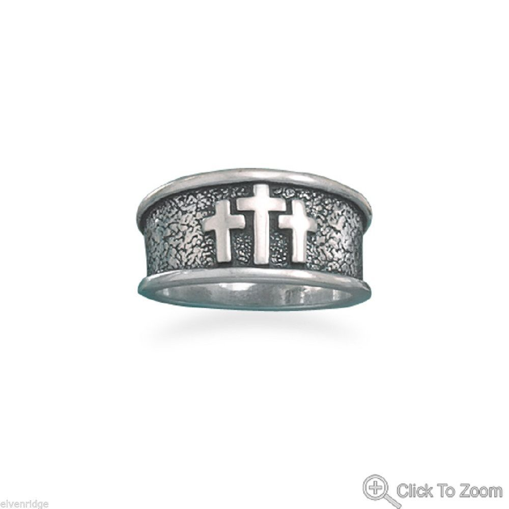 Oxidized Textured Three Cross Silver Ring
