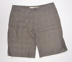 Ezekiel KAUFMAN PLAID Mens Khaki Fit Bermuda Dress Shorts Size 34 Grey/B... - $39.00