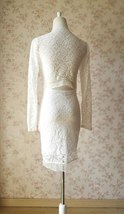 Ivory White Long Sleeve Round Neck Full Lace Short Dress Alternative Wedding NWT image 5
