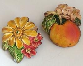 Vintage Pair Of German Enamel Pins Fruit Flower 2 Brooches - $21.23