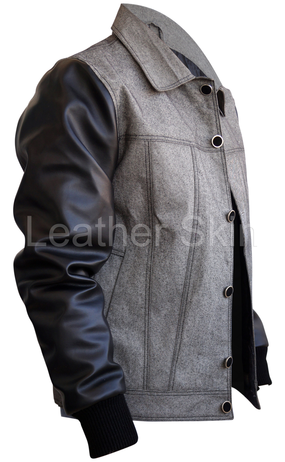 Men jean jacket with leather sleeves