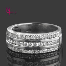 0.64 TCW Round Brilliant Cut Three Row Diamond Wedding Ladies' Band 14k ... - £992.51 GBP