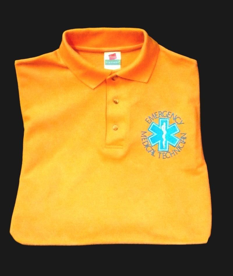 S/S Polo Shirt 100% Cotton Medium EMT Star of Life Orange Embroidered New