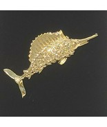 Vintage Swordfish Gold Tone Brooch Pin Marked Gerry's Gerri's - $21.29