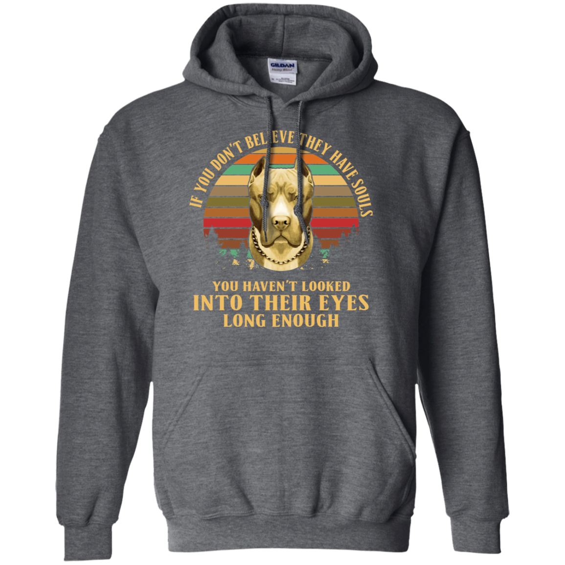 Pitbull If U Don't Believe They Have Souls Vintage G185 Dark Heather Hoodie