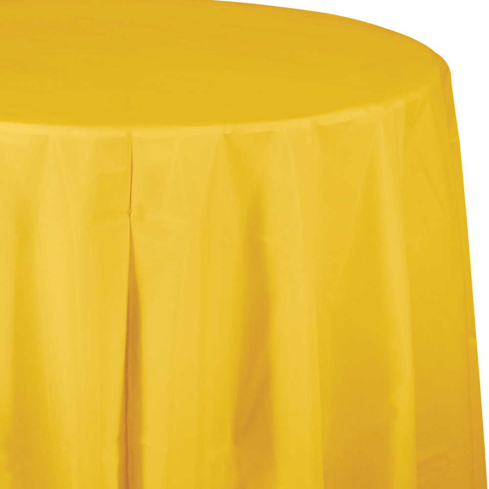 82 inch Plastic OctyRound Tablecover School Bus Yellow/Case of 12