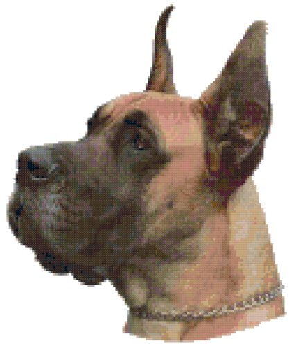 Faun Great Dane Dog Portrait Counted Cross Stitch Pattern