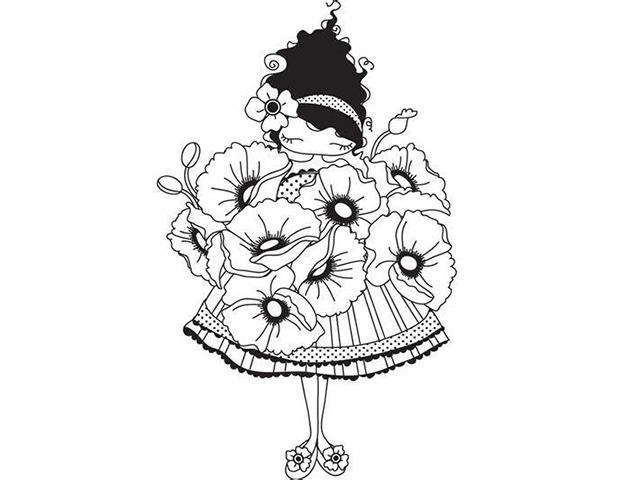 Stamping Bella Lulu Loves POPPIES Unmounted Rubber Stamp #LL129