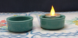 Two Simple Teal Blue Pottery Tea Light or Votive Candle Holders // Vintage - $5.00