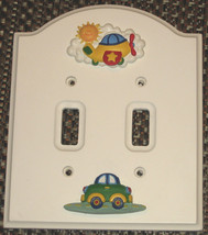 Adorable Wallplate for Baby or Boy's Room, Double Light Switch w/ Car, A... - $3.99