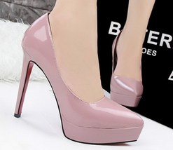 PP001 Elegant high-heeled pumps in candy color, size 34-39, violet - $48.80