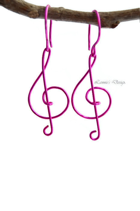 Fuchsia or Hot Pink Treble Clef Dangling Earrings