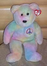 Bears Need Hugs & Home- TY Beanie Buddie Warm Pastels Peace Bear - $6.39