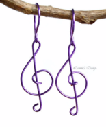Purple Treble Clef Dangle Earrings - $19.90+