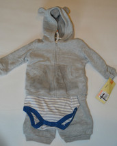 Cherokee Boys 3 Piece Outfit Grey Polar Bear Size 9 Months NWT - $10.71