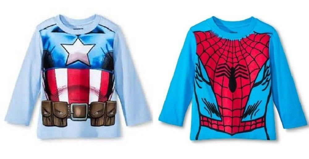 Primary image for Spiderman or Captain America Toddler Boys Long Sleeve T-Shirts 2T or  3T NWT