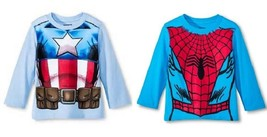 Marvel Spiderman Captain America Toddler Boys Long Sleeve T-Shirts 2T 3T... - $9.09