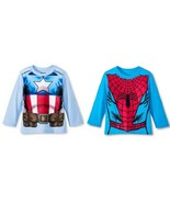 Spiderman or Captain America Toddler Boys Long Sleeve T-Shirts 2T or  3T... - $13.99