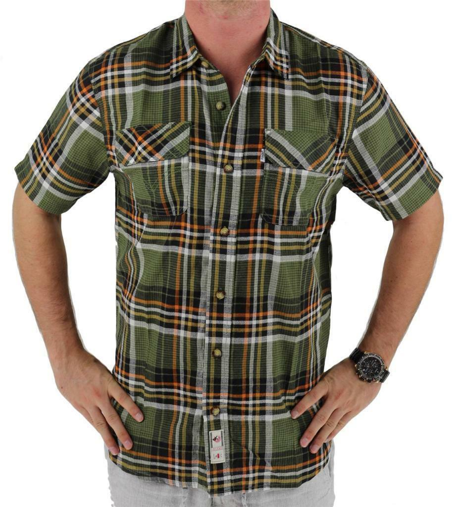 Levi's Men's Classic Plaid Short Sleeve Button Up Shirt Olive 3LDSW062