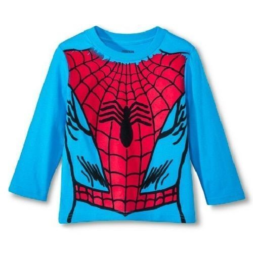 Spiderman or Captain America Toddler Boys Long Sleeve T-Shirts 2T or  3T NWT