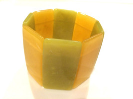 Translucent Modernist Green Yellow Color Block Bangle Expandable Wide Cuff - $34.65