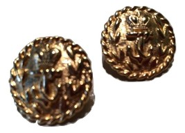 Whimsical Golden Nautical Button Earrings Anchor Crown Vintage Jewelry 80s - $25.00