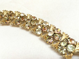 Lisner Jewelry Sparkling AB Rhinestones Link Bracelet Golden True Vintage As is - $44.55
