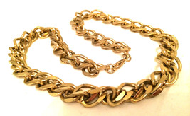 Golden Gold Chain Link Necklace Grunge True Vintage Jewelry talkingfashion - $59.40
